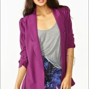 Ark & Co purple sheer blazer w/ ruched sleeves